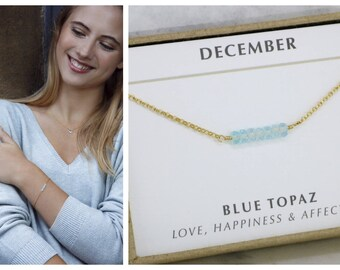 Dainty December birthstone bracelet, December birthday gift, delicate birthstone bracelet, blue topaz bracelet delicate - Martha
