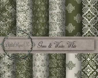 Sale Digital Green Paper: Green and Winter White Digital Texture Paper, Printable Paper Pack, Digital Background  Digital Scrapbook  P 21LA