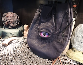 Large  Dark Blue Leather Bag with Purple Eye---New Style---