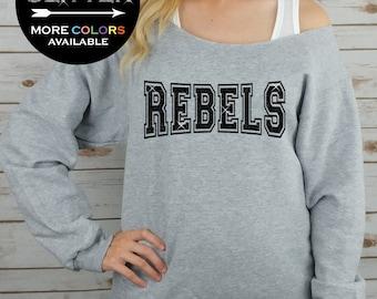 REBELS Off Shoulder Raw Edge Sweatshirt for Women // GLITTER // Hockey, Mascot, Football Shirt, Sports Tee, Plus Sizes (Black Glitter)