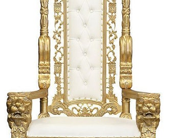 Throne Chair Gold Leaf And White Faux Leather , Lion King   Gold Leaf    Throne Chair