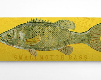 Fishing Gifts for Husband- Bass Fishing Gifts for Men- Smallmouth Bass Art Block Sign- Lake House Art- Fish Print- Smallmouth Bass Print