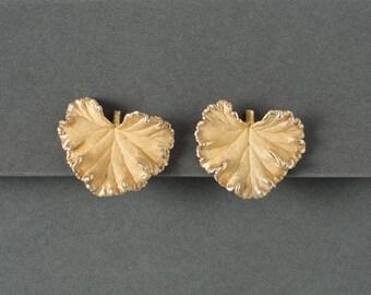 Vintage Geranium Leaf Earrings  Gold Wash Screwbacks