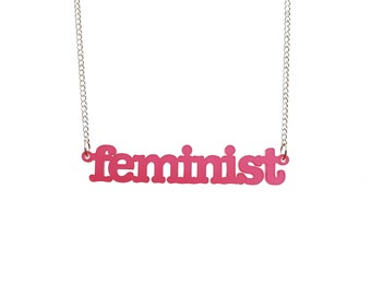 NEW! Typewriter font FEMINIST necklace in cherry  pink frost