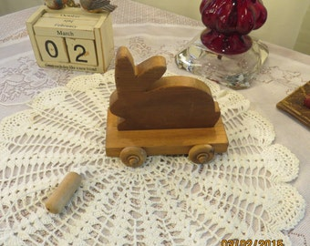 Vintage Wooden Rabbit Pull Toy with String and Wooden Knob to Pull By, Pennsylvania Estate Sale Find