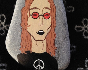 John Lennon Hand Painted Rock