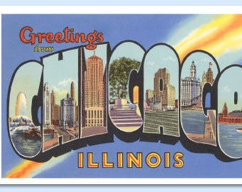 Postcards - Chicago Retro Scenes - Booklet of 8 Full Color Removable Postcards - Magnificent Mile - Wrigley Field - Windy City