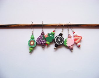 Fun Fruit Stitch Markers - set of 6 - knit knitting fruit charms, food stitch markers polymer clay