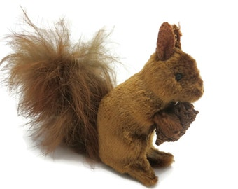 Stuffed Squirrel Figurine - Mohair and Fur