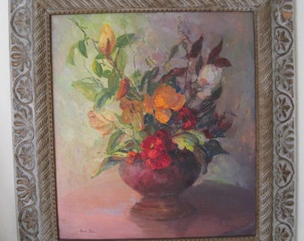 Oil on Board Still Life Floral Framed Mid Century Listed Early California Plein Air Artist Signed Reds Orange Greens