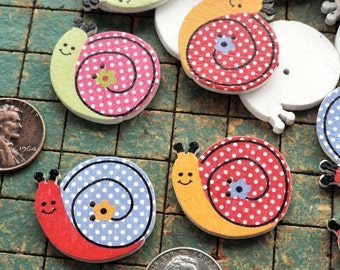 25 Snails, colorful wood buttons, 2 hole, green, red, pink, yellow, blue, sewing, crafts, colorful, scrapbooking, maker, whimsical