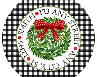 Christmas Round Address Labels,  Kissing Ball Gingham Round Labels Stickers for Christmas Cards, Address Labels, Preppy Labels