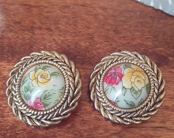 Vintage Floral Clip On Earrings, Victorian-Style Earrings, 1980s
