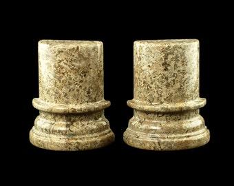 Vintage Polished Beige/Brown Marble Column-Shaped Bookends
