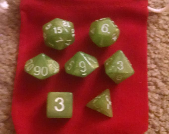 Green Apple - 7 Die Polyhedral Set with Pouch