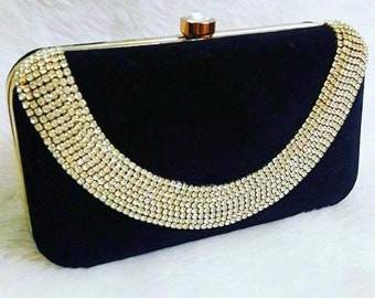 Black Box Clutch with Front Necklace Detailing