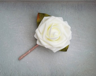 Rose gold and ivory boutonniere, rose gold boutonniere, groomsmen boutonniere, ivory boutonniere, ivory boutonniere, boutonniere, B012