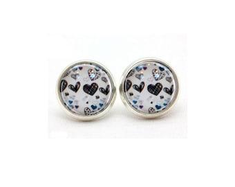 Heart Stud Earrings, Gift for Her, Gift for Women, Statement Earrings, College Student Gift, Surgical Steel Post Stud Earrings