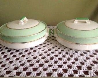 2 x Art Deco Palissy Green - Casserole Hot Pot oven dishes - retro / vintage