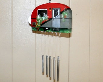 Red & Gray Hand Crafted Wood Travel Trailer Camper Wind Chime Hand Painted-Indoor/Outdoor-Fathers Day-One of a Kind