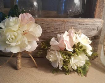 Wrist Corsage and Boutonniere Set - White Rose and Blush (Light Pink) Hydrangea with Mixed Greenery, Flowers and Burlap