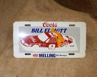 NASCAR License Plate, Bill Elliott, Coors and Racing Advertising