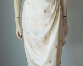 Rare 1950s Pauline Lake Hawaiian Sarong Dress / Silk and Metallic Lame' / Side Swag / Royal Hawaiian / 1950s Hawaiian Dress / Small