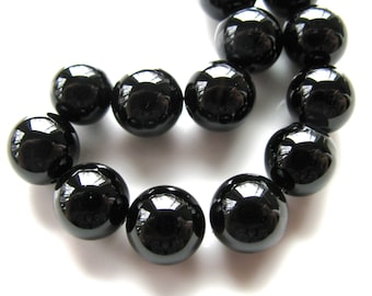 Black Onyx beads, 14 beads, 10mm, 1mm drill holes, Jewelry supply B-8011