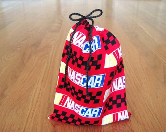 Sports Drawstrings 6x8 Handmade from NASCAR 100% Cotton RED, Black Checker Yellow Blue White Fabric Gift Bag, Party Pouch, Gaming Dice Cards