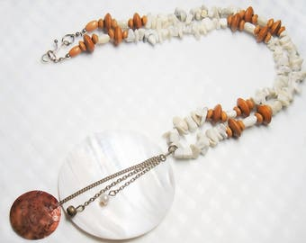 Jasper necklace Statement necklace Gift for wife Bib necklace Mom gift Womens gifts Burnt orange necklace Gifts her Mother of pearl pendant
