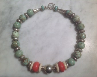 Turquoise, Coral, Bone with Silver Necklace