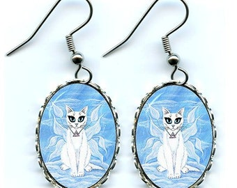 Air Fairy Cat Earrings Elemental White Fairy Cat Fantasy Cat Art Cameo Earrings 25x18mm Gift for Cat Lovers Jewelry