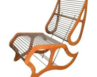 Mid-Century Modern Prototype Aluminum Rod & Plywood Chair