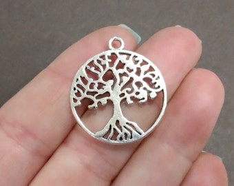 6, Family Tree, Tree of Life Charms (double sided)  29x25x1.5mm, Hole: 2mm