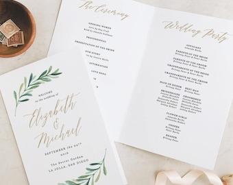 Greenery Wedding Programs Template, Printable Wedding Folded Program, Garden Rustic Theme   Edit in Word and Pages
