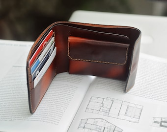 Bifold wallet with Coin Pocket, Men wallet, Coin Wallet, Patina Color Leather , Gift for him, Anniversary Gift, Men Accessory, Mino Crafts