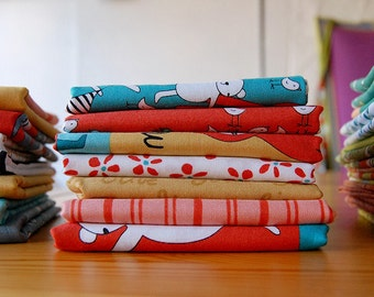 Meet the Gang FABRIC BUNDLE red/turquoise