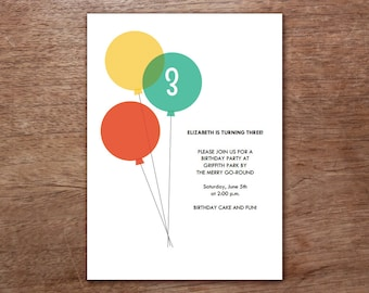 Balloon Birthday Party Printable Invitation - Children's Birthday Invitation Instant Download - Green, Red and Yellow Balloons - DIY PDF