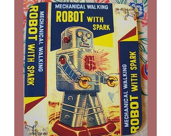 robot mouse pad retro vintage 1950's tin toy outer space office kitsch mousepad