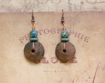 Boho Earrings, Earthy Earrings, Southwestern Jewelry, Ethnic Earrings, Bohemian Earrings, Native American, African Earrings