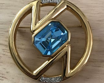 1980's Gold-tone and Aquamarine Brooch by Courreges Paris