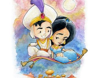 Aladdin and Jasmine Fan Art Watercolor Print