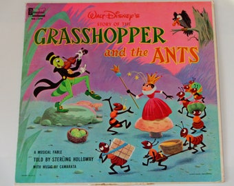 Walt Disney's The Story of the Grasshopper & the Ants - A Musical Fable - Disneyland Records 1969 - Vintage Children's Vinyl LP Record Album