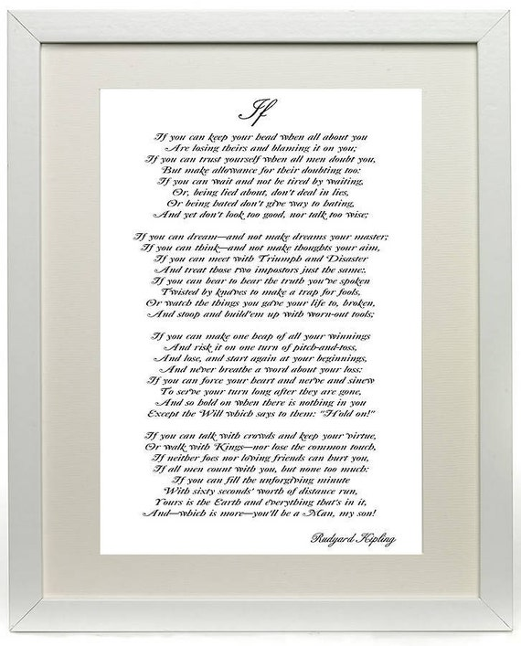 "Items Similar To Rudyard Kipling's Poem If Print 16""X12"