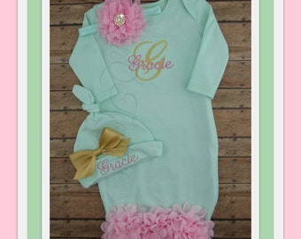 Baby girl coming home outfit, Personalized baby gown, hat, monogram, name, initial, bring home outfit, hospital gown, take home outfit, set