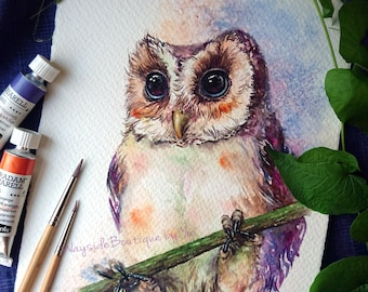 Owl - ORIGINAL watercolor painting 7.5x11 inches