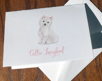 West Highland White Terrier Personalized Stationery, great gift for dog lovers, Westie custom stationery set 100% Cotton Savoy
