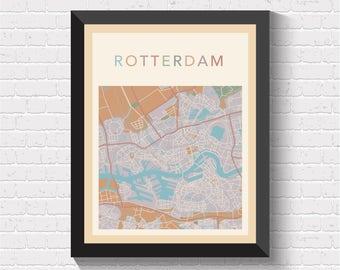 Rotterdam Map, Rotterdam Print, Rotterdam Poster, Rotterdam Art, Rotterdam Map Print, Rotterdam Street Map, Rotterdam Wall Art, Rotterdam