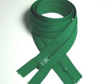 Closure zipper, YKK, 55 cm, detachable, green, mesh plastic 4 mm, couture creations.