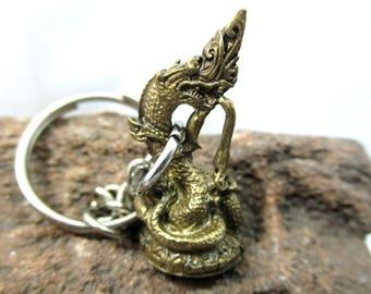 Thai tiny naga miniature amulet key ring key chain